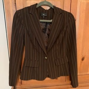 NEW Single-breasted pinstripe brown blazer small